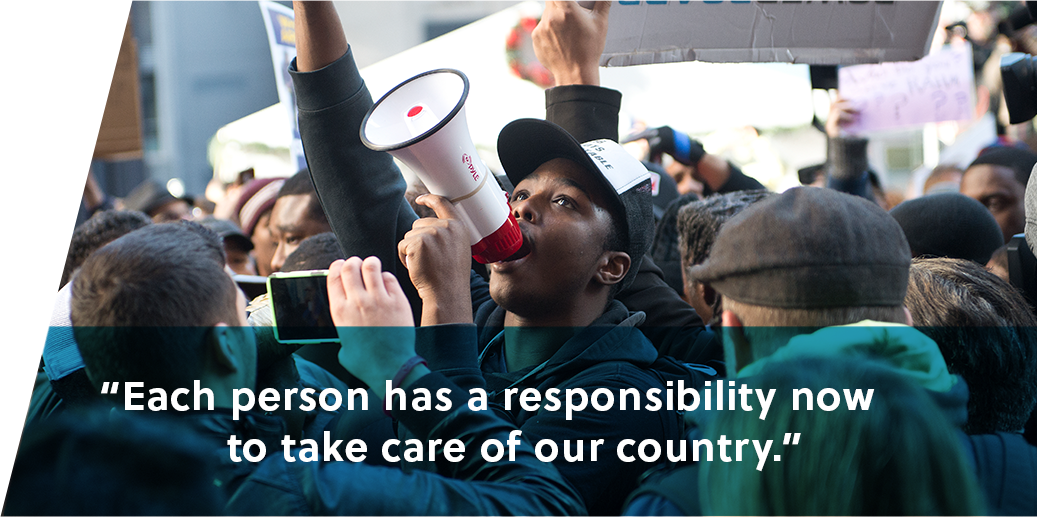 Each person has a responsibility now to take care of our country